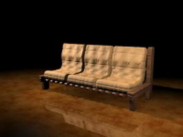 Mission style settee 3d model