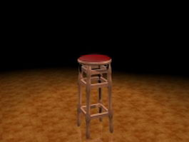 Wood bar stool 3d model