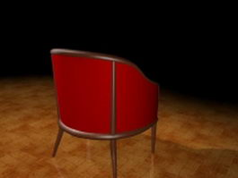 Red fabric tub chair 3d model