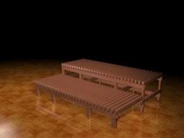 Wood patio bench 3d model