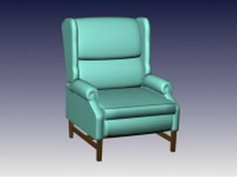 Upholstered wing chair 3d model