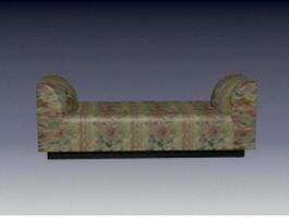 Upholstered settee bench 3d model