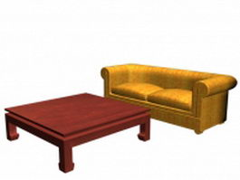 Sofa and coffee table sets 3d model
