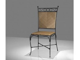 Wrought iron and wicker dining chair 3d model