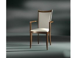 Walnut dining chair with arms 3d model