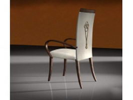 Wood dining chair with covers 3d model