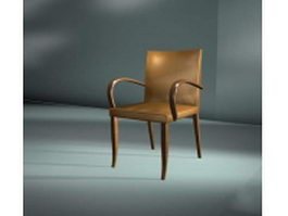 Wood dining chair with arms 3d model