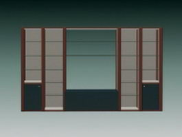 Wall cabinet and shelves 3d model