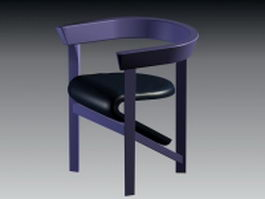 Wood bar stool with back 3d model
