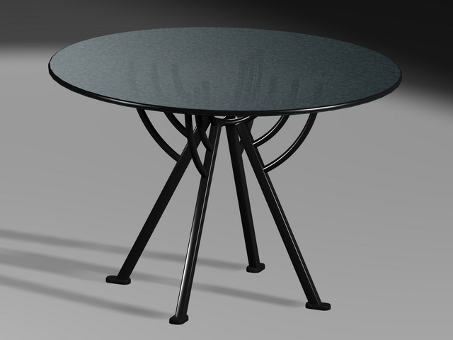 Glass Top Round Dining Table 3d Model 3ds Max Files Free Download