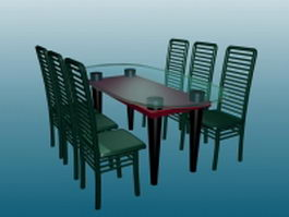 Glass dining table sets 3d model