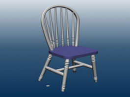 Wood bar chair with back 3d preview