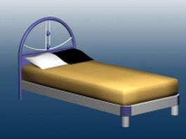 Single bed with mattress 3d model