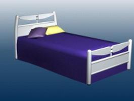 White wooden single bed 3d model
