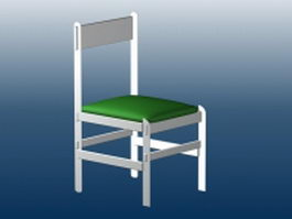White wood dining chair 3d model