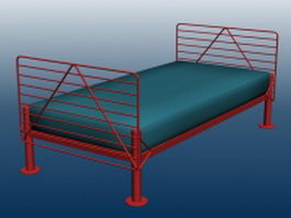 Metal bed with mattress 3d model