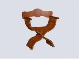 Antique Savonarola chair 3d model