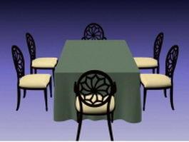 7 Piece dining room sets 3d model