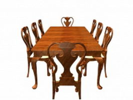 Antique dining room sets 3d model