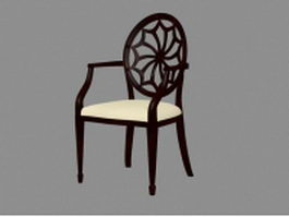 Antique wooden chair with arms 3d model
