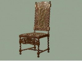 Antique hand carved chair 3d model