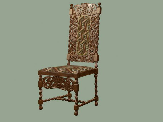 Antique hand carved chair 3D Model - Antique Hand Carved Chair 3d Model 3D Studio,3ds Max Files Free