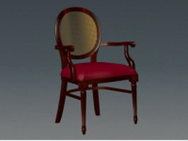 Red wood accent chair 3d model