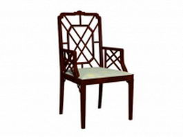 Antique wood accent chair 3d model