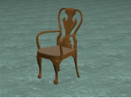Antique carved wood chair 3d model