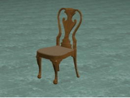 Antique wood carved chair 3d model