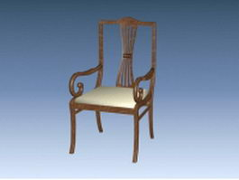 Antique wood armchair 3d model