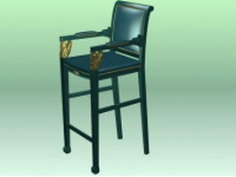 Antique bar stool 3d model