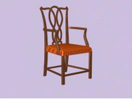 Antique wood arm chair 3d model