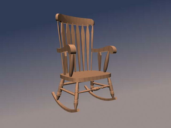 Wood rocking chair d model studio ds max files free