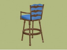 Antique upholstered bar stool 3d model