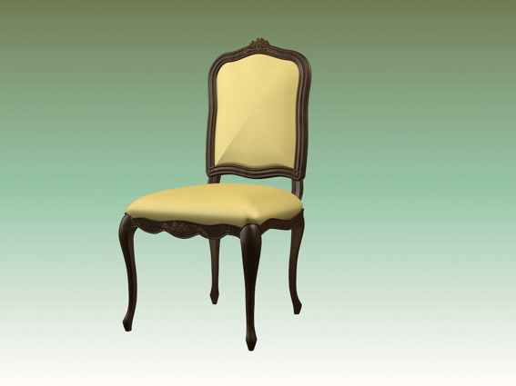 Vintage Upholstered Dining Chair 3d Model