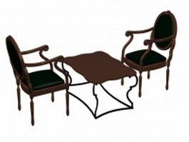 Antique tea table sets 3d model