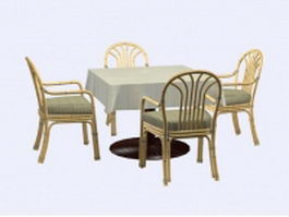 Bamboo dining sets 3d model