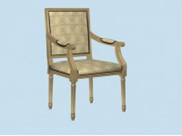 Antique French accent chair 3d model