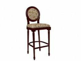 Antique wooden bar stool 3d model