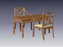 Bamboo dining table and chairs 3d model