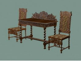 Antique Chinese reception table and chairs 3d model