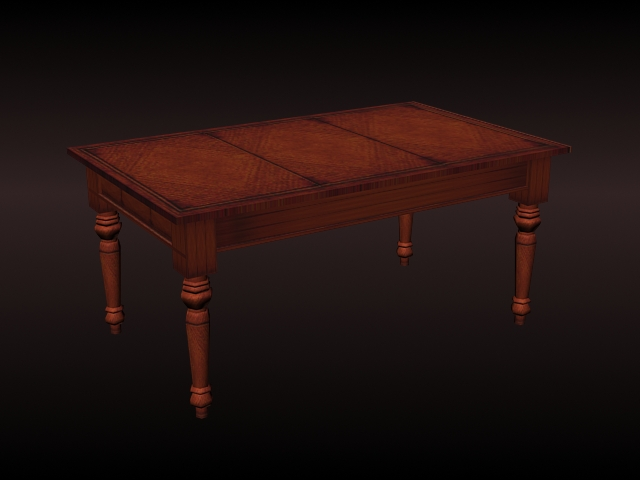 American antique dining table 3d model 3d studio 3ds max for New model wooden dining table