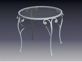 Vintage metal table with glass top 3d model