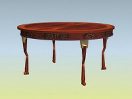 Antique round banquet table 3d model