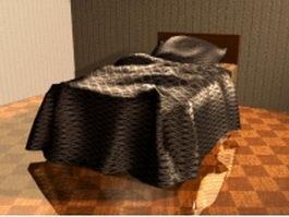 Single wooden bed 3d model