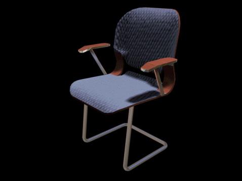 Blue mesh cantilever chair 3d model