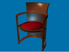 Antique wood barrel chair 3d model