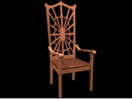 High back wood chair 3d model