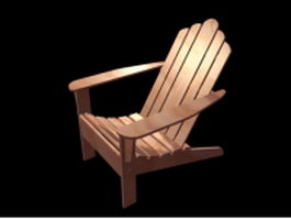 Wood recliner chair 3d model